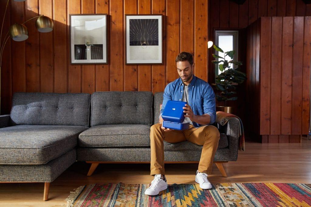 man opening dadi kit in home