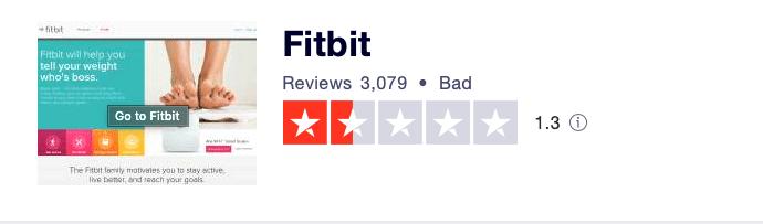 Fitbit Trustpilot reviews