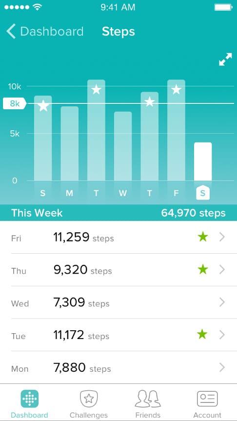 Fitbit steps counter app screenshot