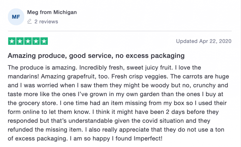 Imperfect Foods Trustpilot review