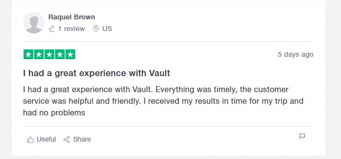 Vault health review 2 from trustpilot
