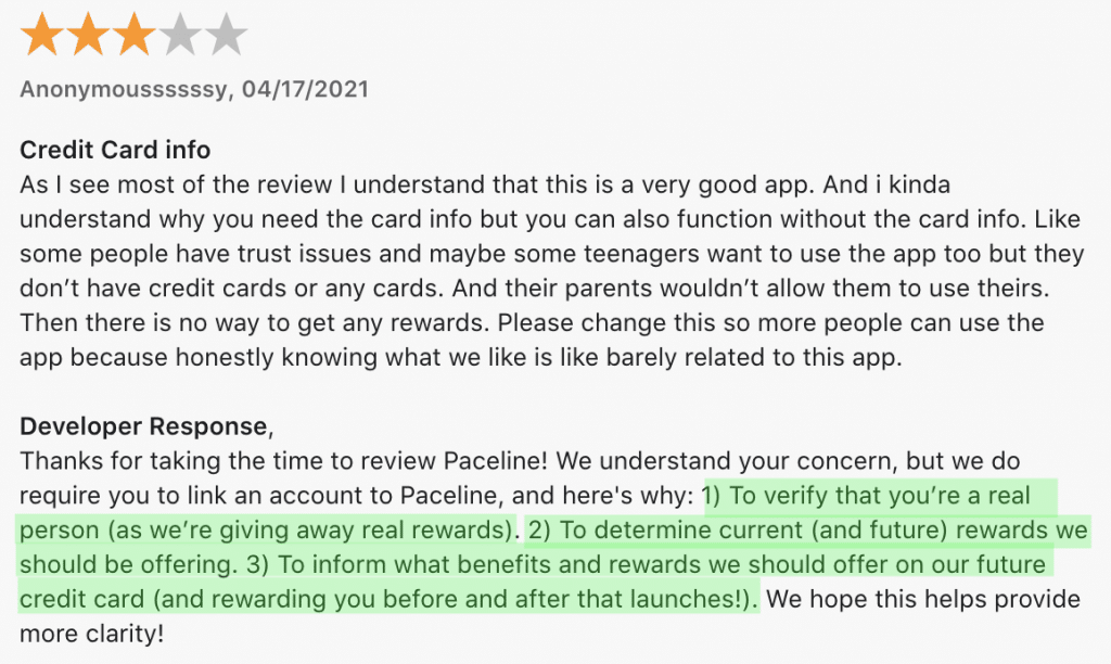 A negative Paceline app review 5 from app store