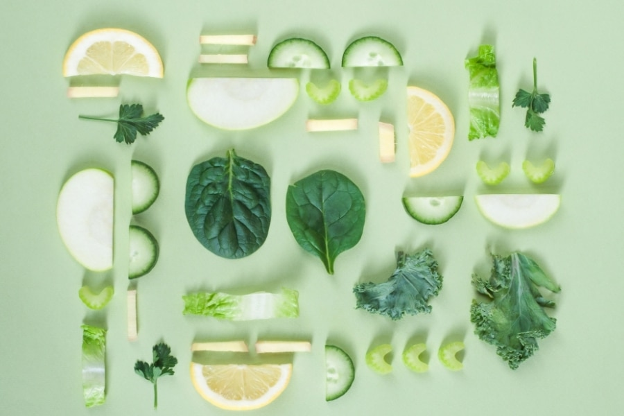 healthy greens spread out on a table